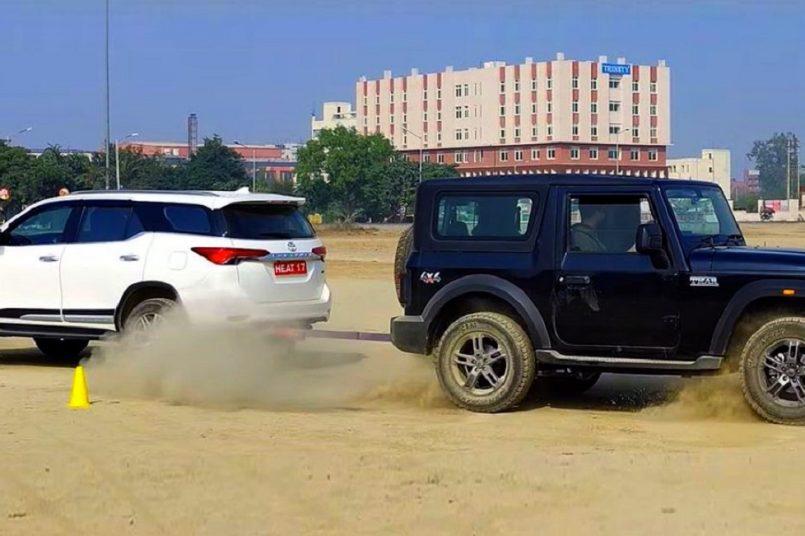 Mahindra Thar vs Toyota Fortuner tug-of-war