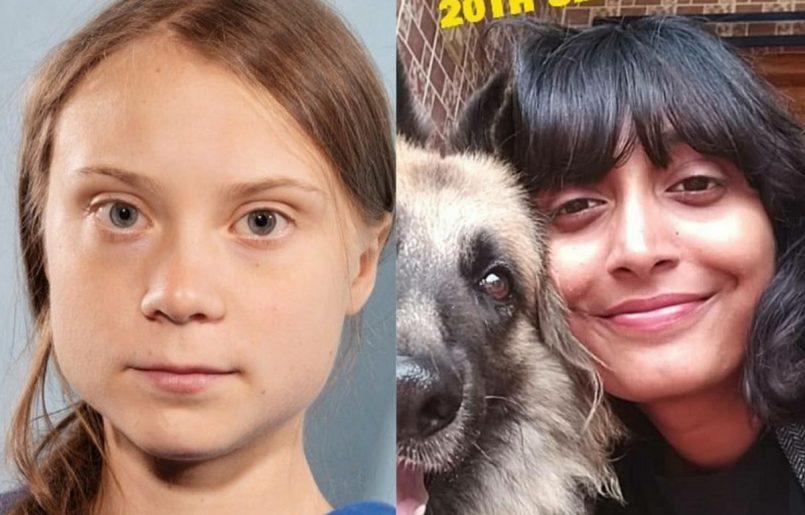 Greta Thunberg (R) Disha Ravi (L)