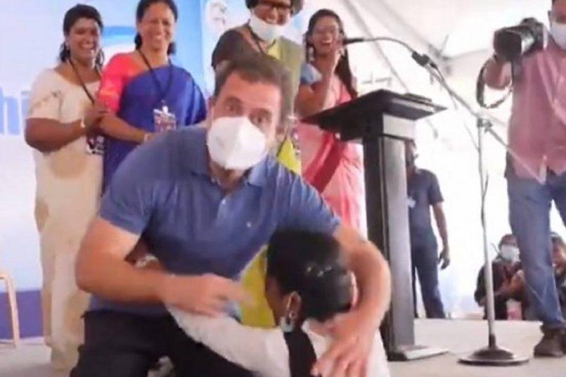 Rahul Gandhi embraces emotional student during Puducherry visit