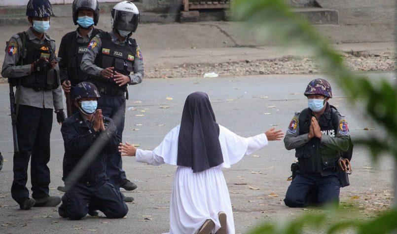 Nun kneels in front of Myanmar police to stop shooting children, photo goes viral