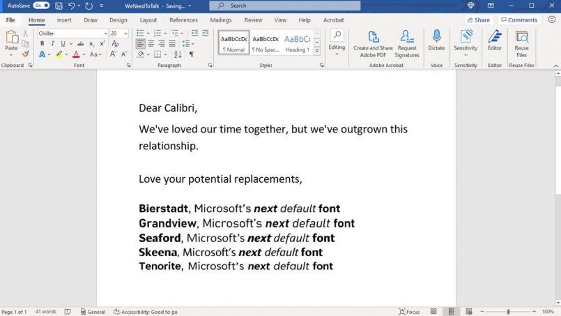 Microsoft is replacing Calibri as default font | Asks netizens to choose