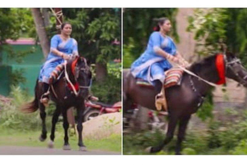 Odisha woman rides horse in saree