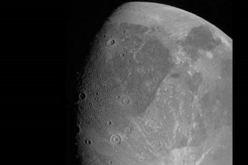 NASA's Juno passes Jupiter's largest moon Ganymede, clicks its first pic