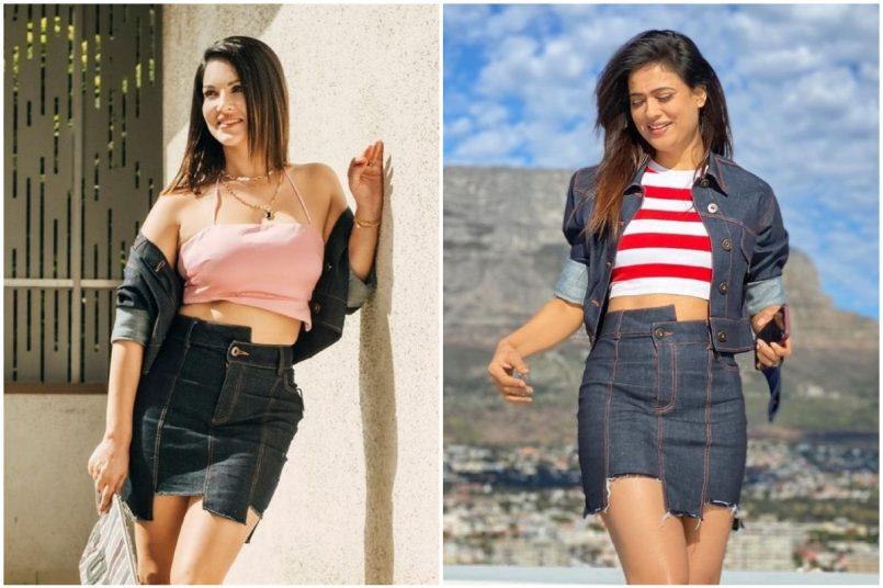 Sunny Leone vs Shweta Tiwari: Who wore this assymetrical denim skirt better?