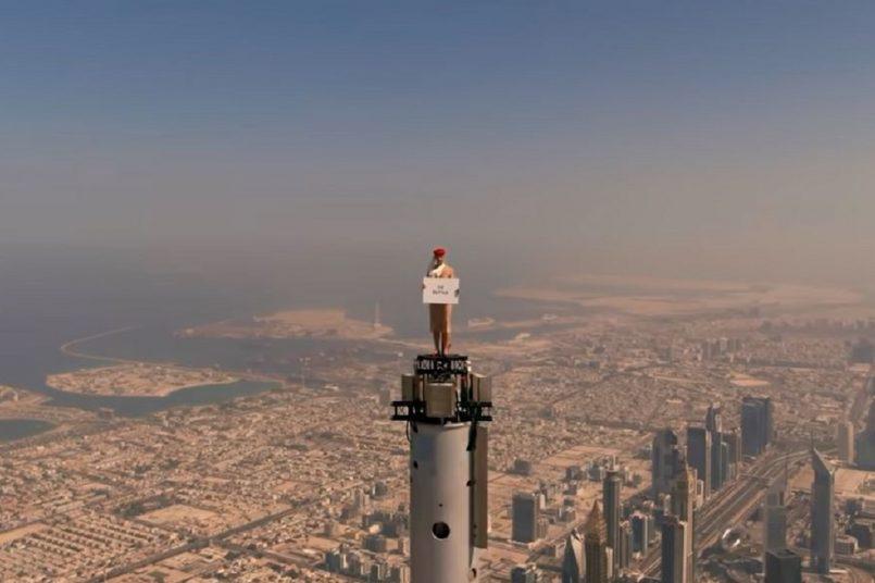 Burj Khalifa: Watch this woman shooting an ad standing on top of Burj Khalifa
